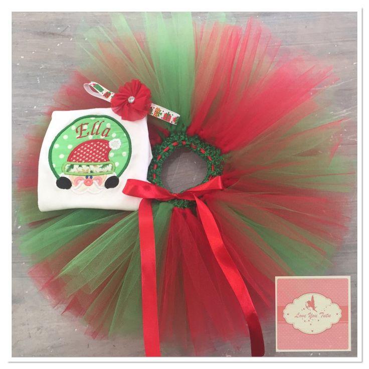 Embroidered personalized Santa tutu set