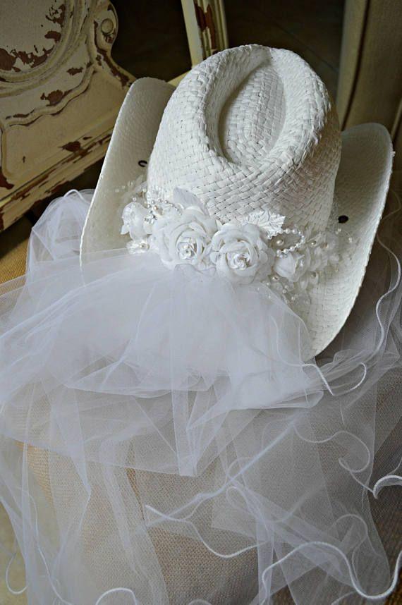 4ab04aa471ff3 Cowgirl-bride-western-wedding-hat-veil-ivory-bachelorette-party ...