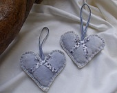 Handmade cotton heart ornaments with ribbon bow