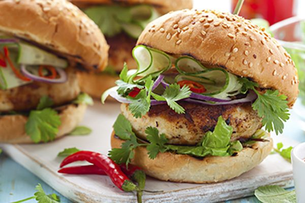 Add some kick to tonight's dinner with our tasty Grilled Thai Turkey Burgers.