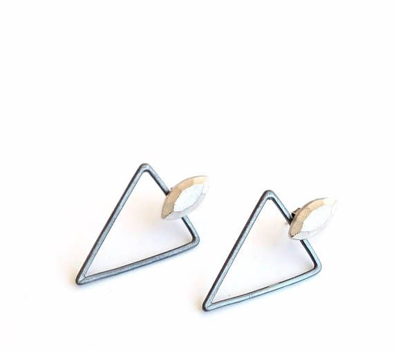 Sterling silver Ear Jackets with Faceted Marquise and Triangles