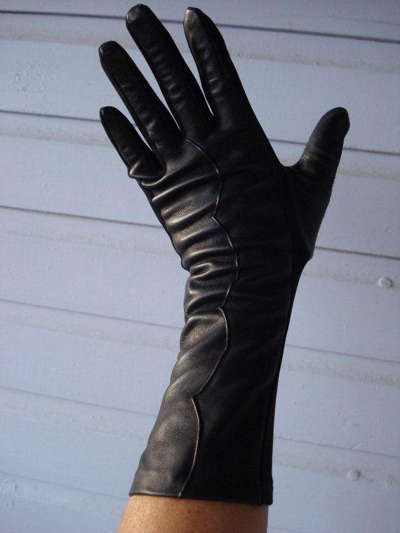 Vintage 1950s Black Leather Gloves 3/4 Length 2013463