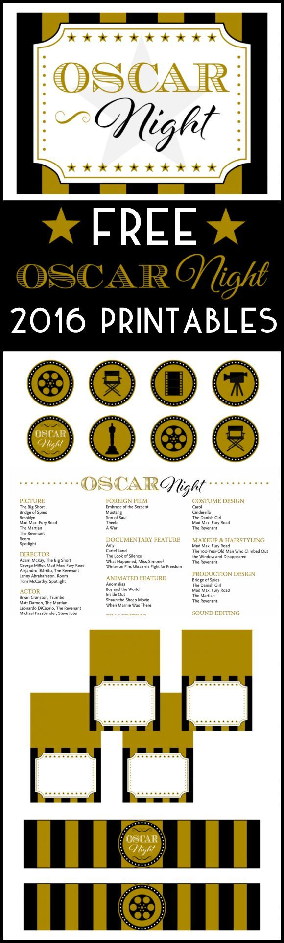 2016 Free Oscar Party Printables for your Academy Awards watching party! | http://CatchMyParty.com