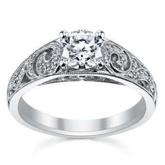Peter Lam Luxury Royal Tiara 14K White Gold Diamond Engagement Ring Setting