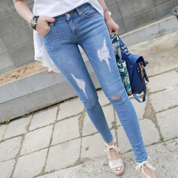 $19.43 Stylish High-Waisted Pocket And Hole Design Slimming Women's Jeans