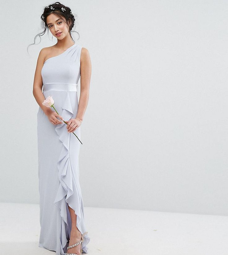 TFNC Petite Wedding One Shoulder Maxi Dress With Frill Detail - Blue