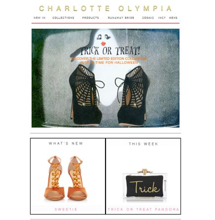 It's Halloween!  Charlotte Olympia sceglie le illustrazioni per le sue Newsletter