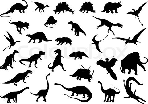Silhouettes for dino cake