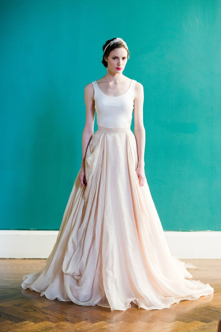 Draped linen ballgown skirt in blush layered with champagne paired with  silk jersey ballet tank.  - Also available in ivory and custom color combinations    Real weddings &inspiration shoots.  Request more information.