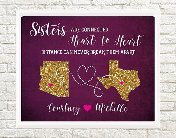 Gift for Sister Long Distance Sister Map Sister moving away