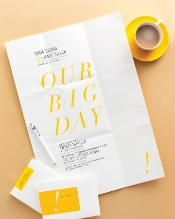 Love this, minimalist yet boldly graphic invite, folds up into it's own little package with the help of a return address sticker, no need for an envelope.
