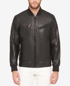 Marc New York Men's Three-Pocket Leather Bomber Jacket - Black