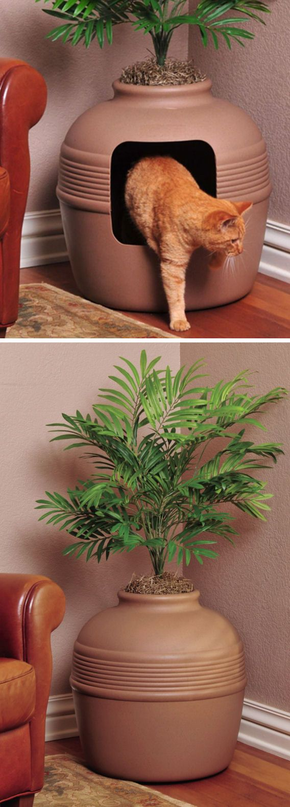 Covered Hidden Cat Litter Box  (I may need to get one of these)