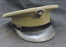 US MARINE Wool Dress Hat Vintage Emblem Pin Green Size 6 7/8 USMC