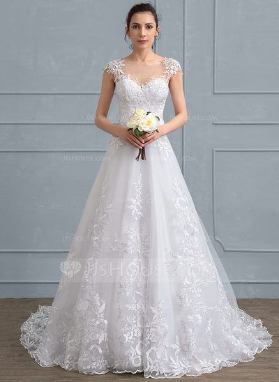 A-Line/Princess Scoop Neck Court Train Tulle Lace Wedding Dress (002111937)