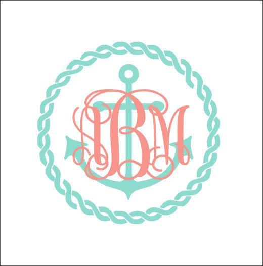 Anchor Rope Monogram Decal Car Decal Vinyl by CustomVinylbyBridge