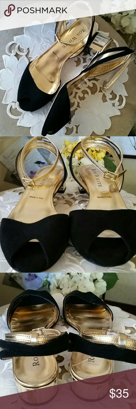 Ron White peep-toe - like new Gorgeous Ron White black and gold sandals with gold ankle strap and heels. Spectacular from every angle.  Like new. Ron White Shoes Sandals
