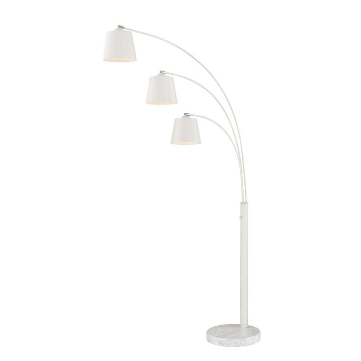 Filament Design 76.5 in. White Floor Lamp with White Metal Shades