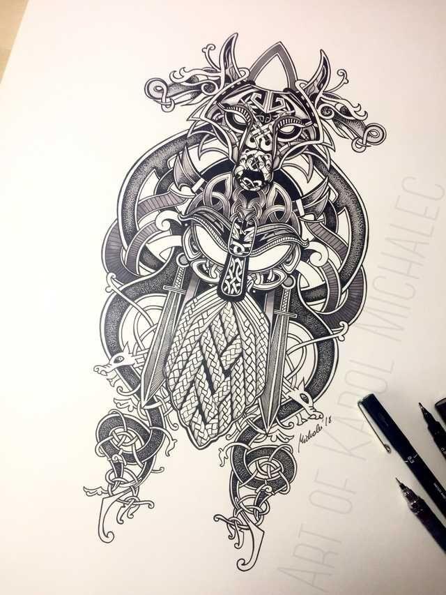 67845497eaa26 Fenrir & Tyr Viking Artwork by me | Tattoos | Viking tattoos ...