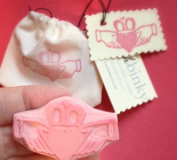 Irish Claddagh Rubber Stamp Hand Carved for Cards by PoshBinky, $11.00  --Perfect!!