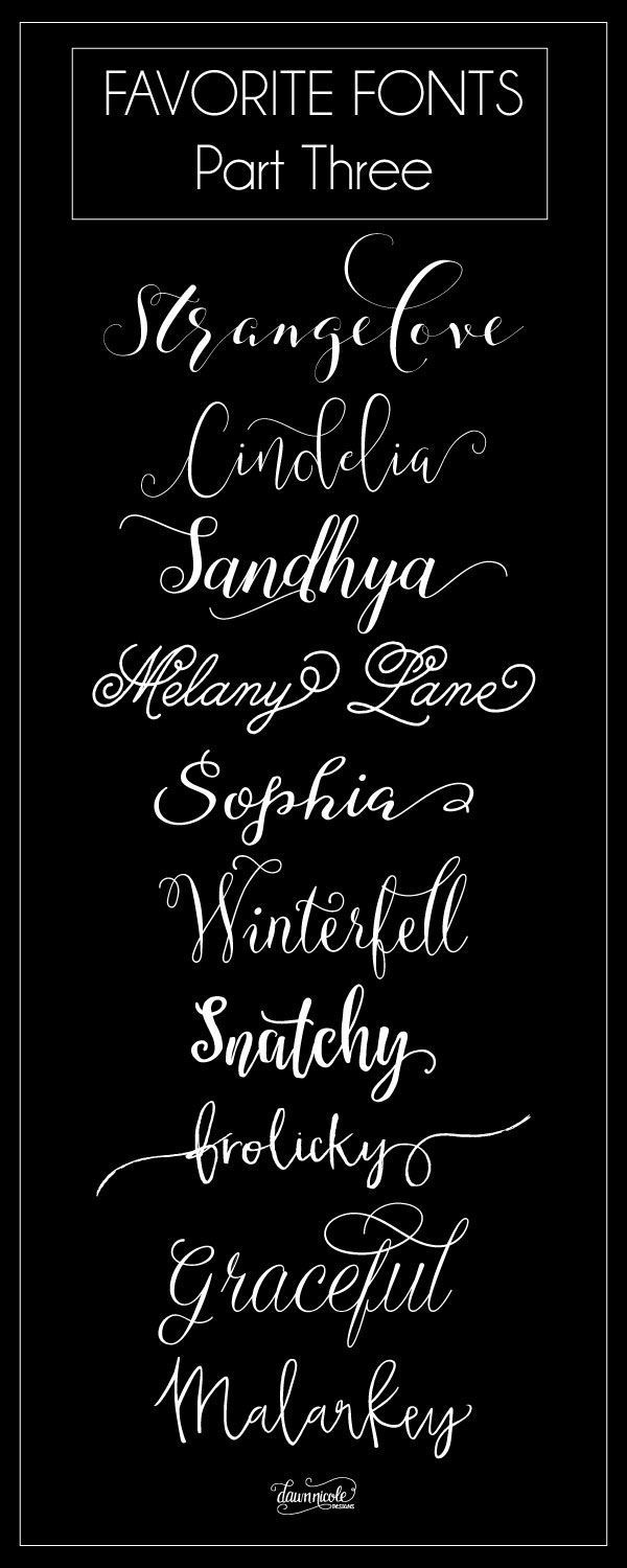 Favorite Fonts, Part Three. Ten more of my favorite commercial use fonts to love! | http://dawnnicoledesigns.com