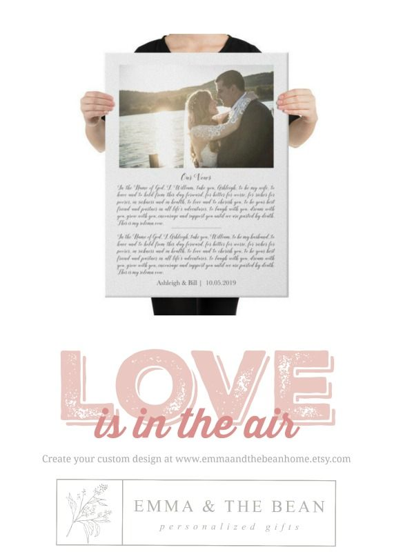 Framed Wedding Vows On Canvas Your Wedding Song On Canvas Wedding Vows Gift Anniversary Gift Couples Gift Photo Anniversary Gift In 2020 Wedding Vows Gift Personalized Valentine S Day Gifts Personalized Valentines