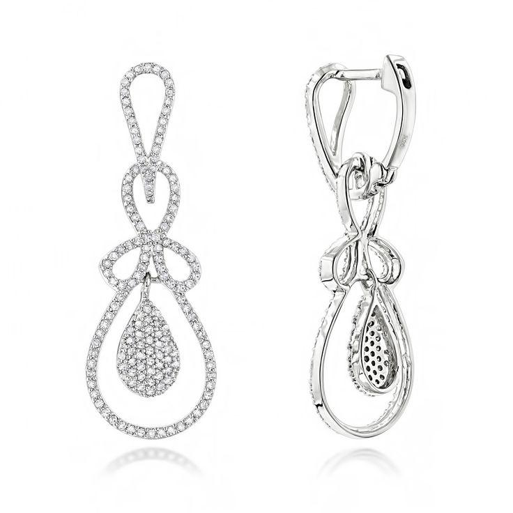 Ladies Diamond Drop Earrings 1.04ct 14K Gold