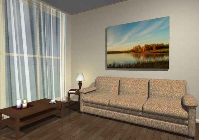 Printed photo 'Small lake view ' in the interior design