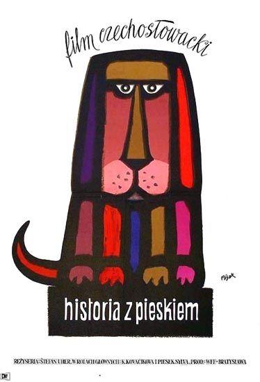 Vintage movie poster 1960 by Jerzy Flisak: Historia z pieskiem