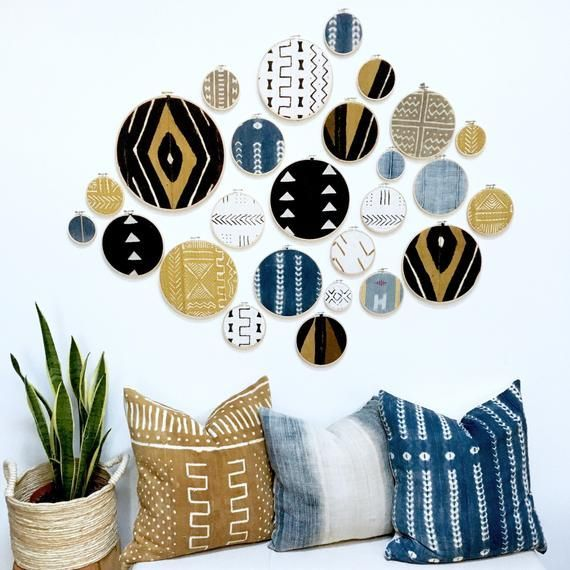8 Piece Custom Set, African Mudcloth Gallery Wall Hanging Decor Set, Wood Circle Frames Various Sizes, Modern Boho, Authentic Vintage Textil