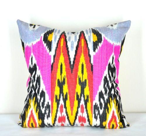 Ikat pillow cover deep purplish pink purplish red yellow black ebay