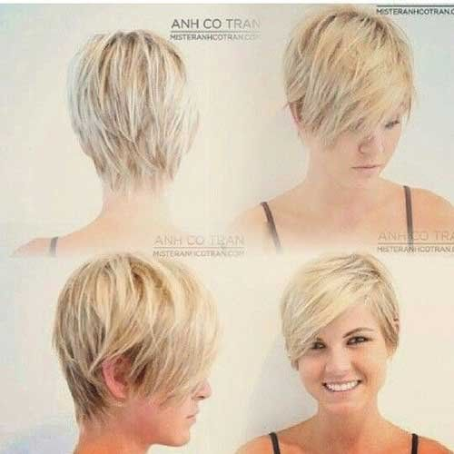 Trendy Blonde Pixie Haircut for Round Face