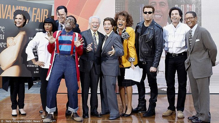 The Today show cast's costumes from last year. Left to right: Savannah Guthrie as Demi Moore, Tamron Hall and Willie Geist as Mia and Vincent from Pulp Fiction, Al Roker as Steve Urkel, Regis Philbin as himself, Kathie Lee Gifford as Regis Philbin, Hoda Kotb as Kathie Lee Gifford, Carson Daly as Arnold Schwarzenegger (his second costume), Matt Lauer as Jerry Seinfeld and Bryant Gumbel