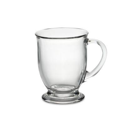Anchor Hocking® 16-Ounce Clear Café Mug - BedBathandBeyond.com. Love the clear look.
