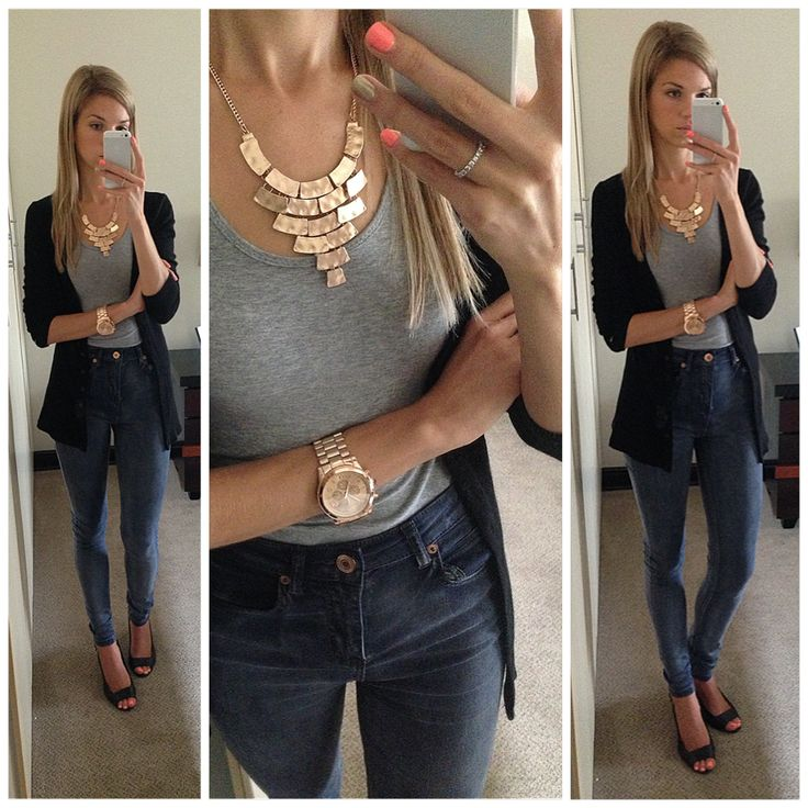 High waisted jeans with rose gold men's watch