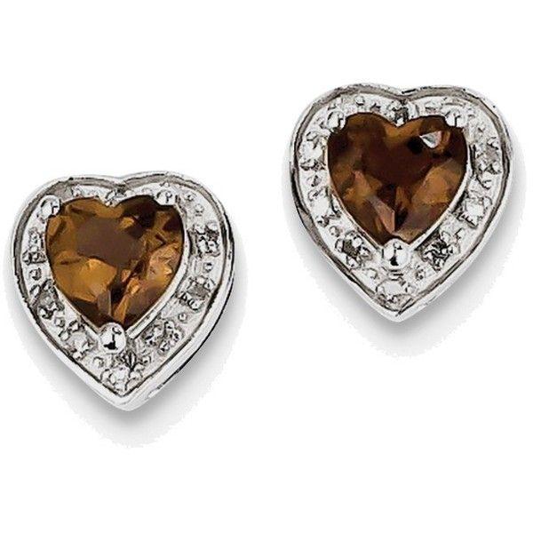 Sterling Silver Rhodium-plated Diamond Heart Smoky Quartz Earrings (4.370 RUB) ❤ liked on Polyvore featuring jewelry, earrings, heart shaped diamond earrings, heart shaped earrings, sterling silver diamond earrings, smokey quartz earrings and smoky quartz earrings