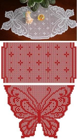 Advanced Embroidery Designs - Crochet Butterfly Table Runner Set
