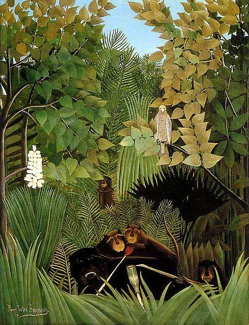 """Los monos"" (1906)- Henri Rousseau (Naif) (Francia) (1844-1910)"