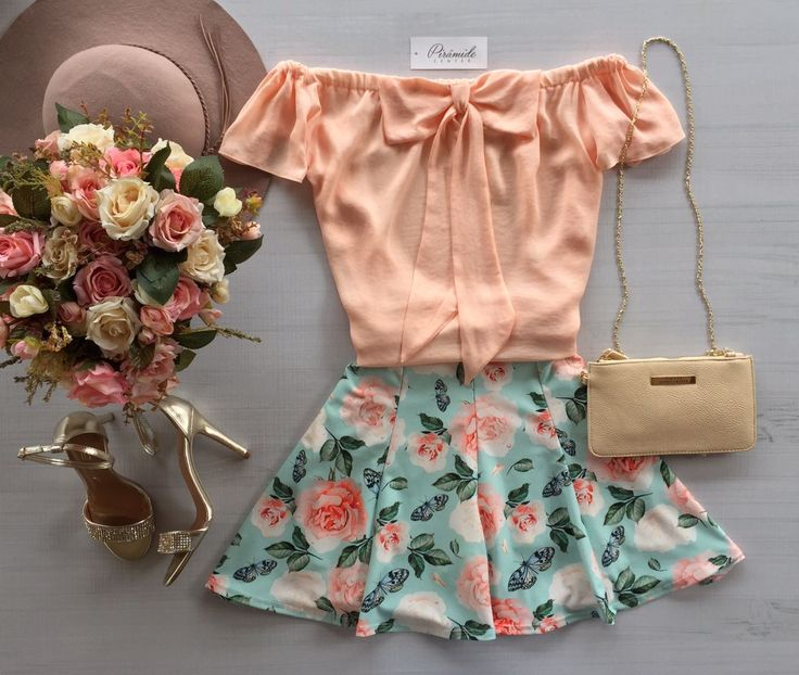 #outfit #top pink off the shoulders bow #skirt blue pink floral