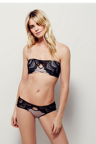 Strata Undie | Free People Silky undies featuring crochet lace detailing around the waistband and contrast trim.