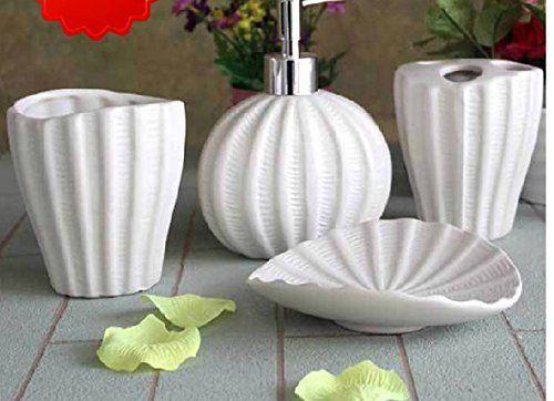 Amazon.com - Bathroom Accessory Sets - Classic Mediterranean style sea shells of ceramic bathroom set / bathroom amenities Wash Set -