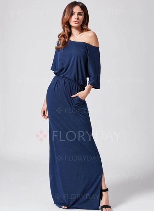 Dress - $40.99 - Solid 3/4 Sleeves Maxi Dress (1955116505)