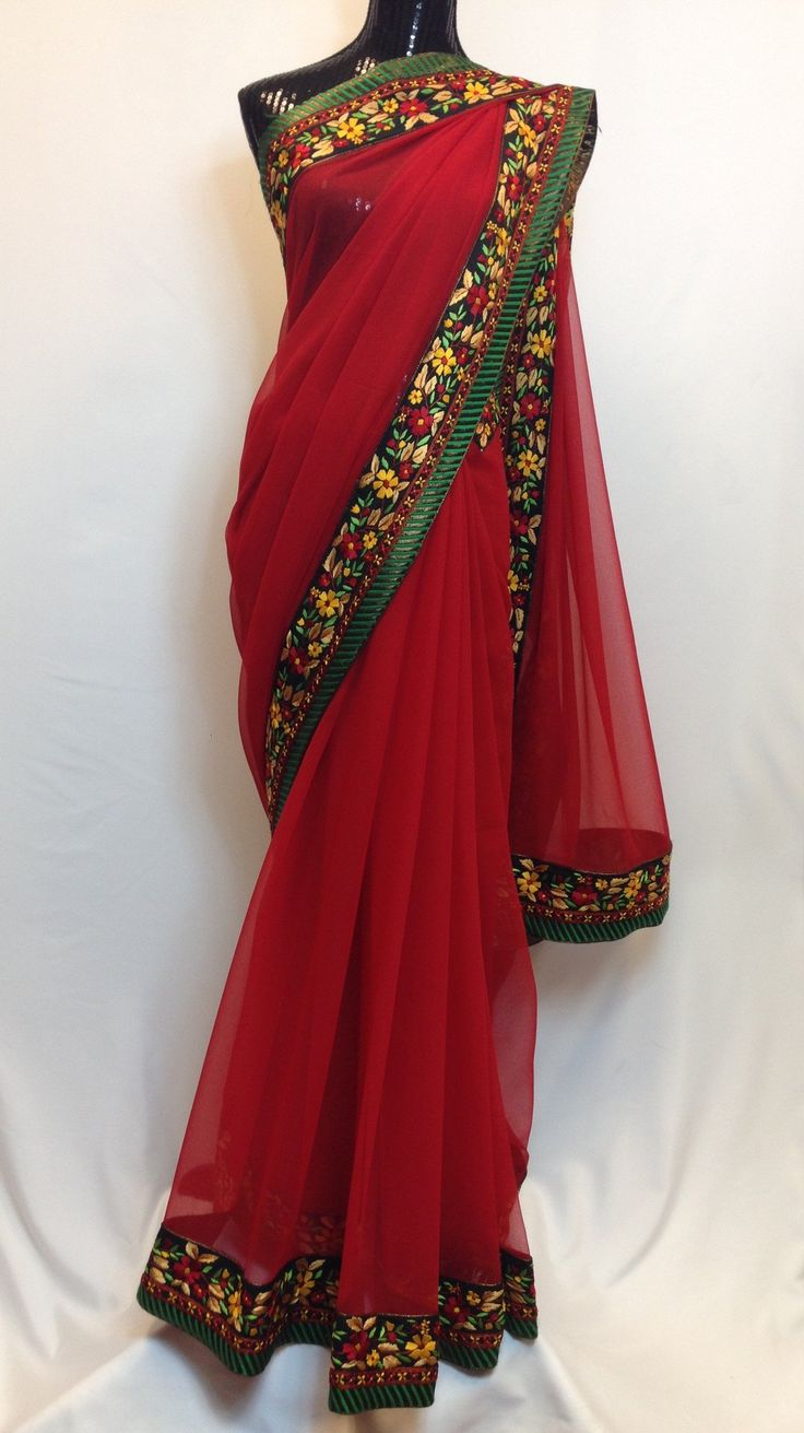 Pure Georgette Saree with Floral Hand Embroidered Boarder - Red
