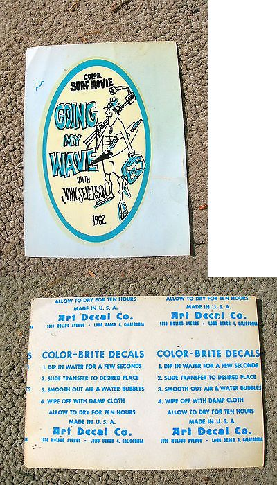 Decals Patches and Stickers 22711: Vintage John Severson Surfer Magazine Water Slide Decal Surf Movie Surfboard BUY IT NOW ONLY: $109.0