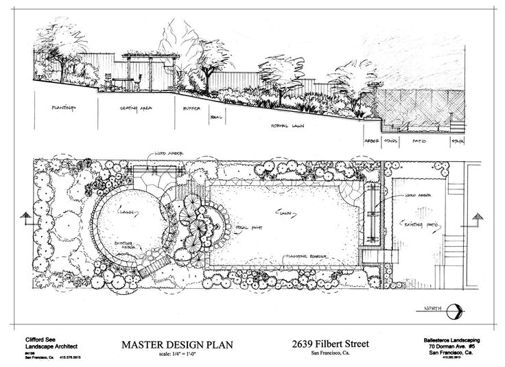 San francisco garden design plan with elevation pencil for Landscape plan drawing