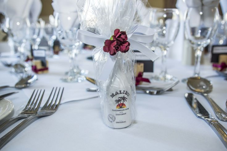 Very unique favour ideas. For the Malibu lovers. Very small bottle of Malibu for the adults on your Special Day. You can do this with any miniature size bottles.