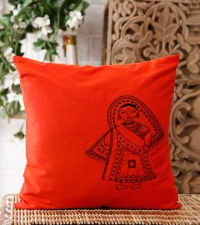 Orange Hand Embroidered Madhubani Cushion Cover