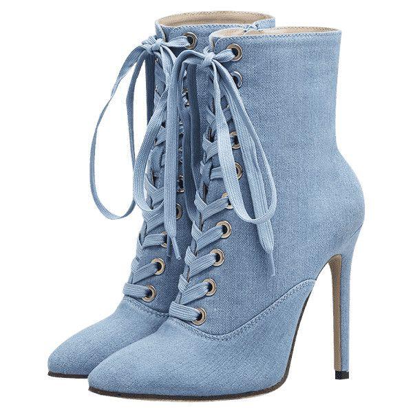 Botas De Mezclilla Con Tacón Alto Y Punta Estrecha Azul Claro 35 ($48) ❤ liked on Polyvore featuring shoes, pointy toe shoes, denim boots, tie shoes, pointed toe high heel boots and pointed toe boots