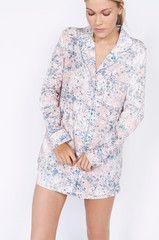 Riccardo Print Short Luxury Cotton Womens Pyjama Set - Pink/Blue