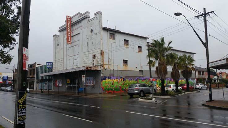Former Marina Cinema, later Video Mania video shop and now for lease and derelict in Rosebery, Sydney.  Opened in 1927 and closed in 1984.  Paul Brennan photo.